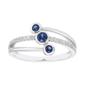 Boston Bay Diamonds Lab-Created Gemstone & 1/10 Carat T.W. Diamond 3-Stone Ring, Women's, Size: 5, Blue
