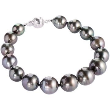 "DaVonna Sterling Silver 8-10 mm Black Baroque Tahitian Pearl Bracelet, 8"""