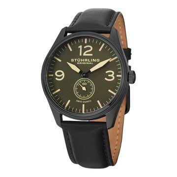 Stuhrling Original Men's Swiss Quartz Aviator Leather Strap Watch (Stuhrling Original Men's Watch)