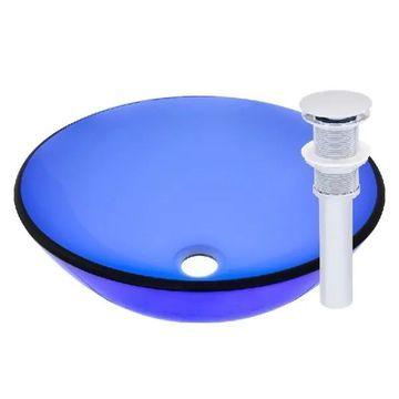 Novatto Blu Chrome Brass and Glass Vessel Bathroom Sink Set
