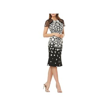 Carmen Marc Valvo Womens Cocktail Dress Knee-Length Embroidered