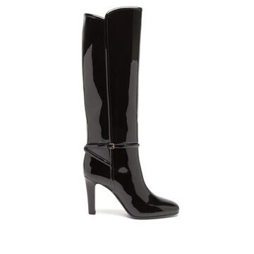 Saint Laurent - Jane Knee-high Patent-leather Boots - Womens - Black