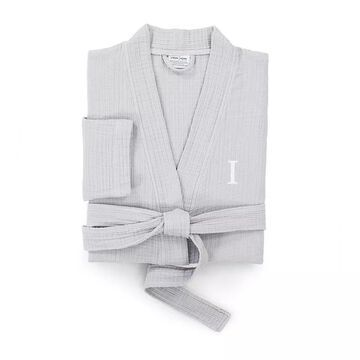 Linum Home Textiles Turkish Cotton Smyrna Personalized Luxury Robe, Men's, Size: Small/Medium, Grey