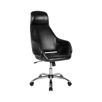 Offex Home and Office Upholstered High Back Swivel Office Chair in Black Leather