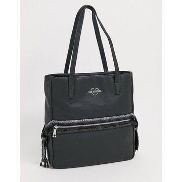 Love Moschino tote bag with front zip in black