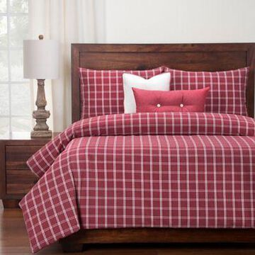 SIScovers Tartan Brick Twin Duvet Cover Set in Red/White