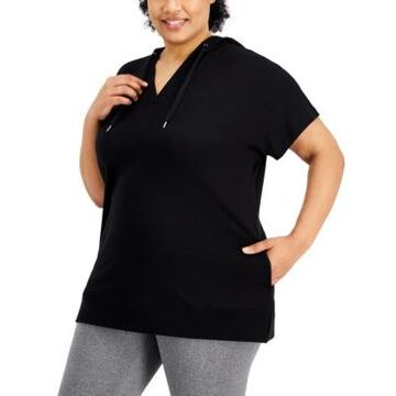 Ideology Plus Size Short-Sleeve Hoodie, Created for Macy's