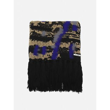 Les Hommes Knitted Wool Scarf With Contrasting Print
