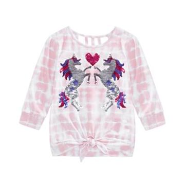 Beautees Big Girls Tie-Dyed Unicorn Top