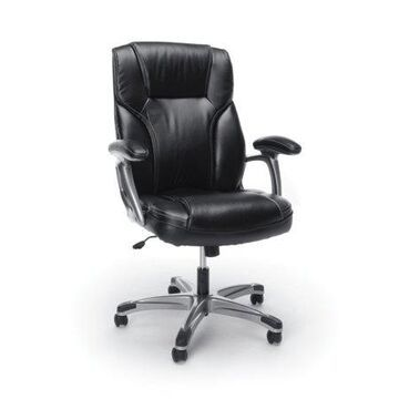 Essentials by OFM ESS-6030 High-Back Bonded Leather Executive Chair with Fixed Arms, Black