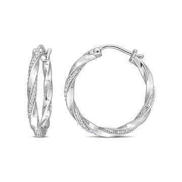 1/4 Carat T.W. Diamond Sterling Silver Twisted Hoop Earrings