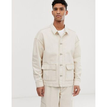 ASOS WHITE two-piece denim jacket in ecru