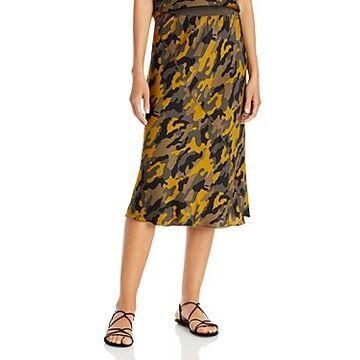 Atm Anthony Thomas Melillo Silk Camo Midi Skirt
