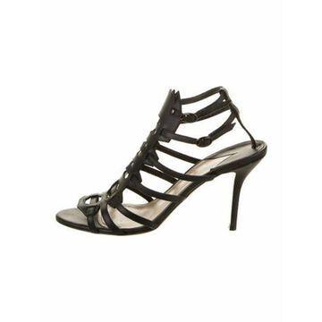 Leather Slingback Sandals Black