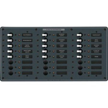 Blue Sea Systems 8264 Traditional Metal DC Circuit-Breaker Panel, 24 Positions