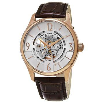 Stuhrling Original Men's Delphi Skeletonized Automatic Leather Strap Watch - brown (Stuhrling Original Men's Watch)