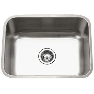 HOUZER Eston 23-in x 17.75-in Lustrous satin Single-Basin Undermount Residential Kitchen Sink Stainless Steel