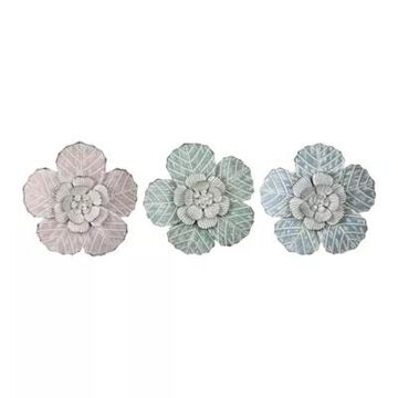 Stratton Home Decor Charming Flowers Metal Wall Art (Set of 3)