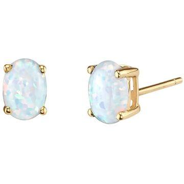 14K Oravo Yellow Gold Oval Shape Created Opal Stud Earrings (Opal - White - Yellow - White)