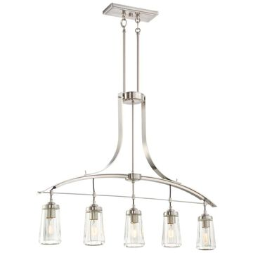 Minka Lavery Poleis Brushed Nickel Modern/Contemporary Clear Glass Cylinder Large (Larger Than 22-in) Pendant Light | 3306-84