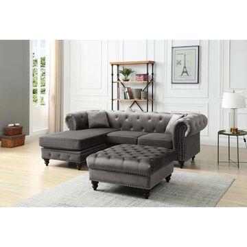 Nola Velvet Sofa with Chaise