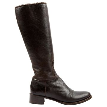 Jil Sander Brown Leather Boots