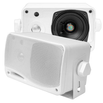 PYLE PLMR24 3.5-Inch 200 Watt 3-Way Weather Proof Mini Box Speaker System (White