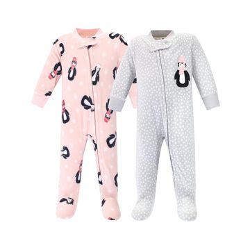 Hudson Baby Girls' Footies Pink - Gray Dot & Pink Penguin Fleece Footie Set - Newborn & Infant