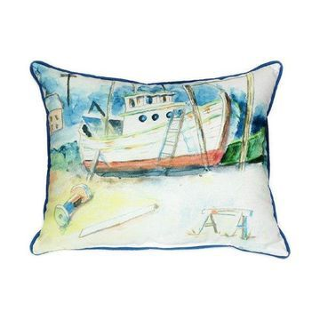 Pair of Betsy Drake Old Boat Large Indoor/Outdoor Pillows 16x20