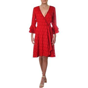 Gabby Skye Womens Ruffled Textured Cocktail Dress