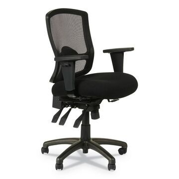 Alera Etros Series Mesh Mid-Back Petite Multifunction Chair, Supports up to 275 lbs, Black Seat/Black Back, Black Base - Clear (Clear)