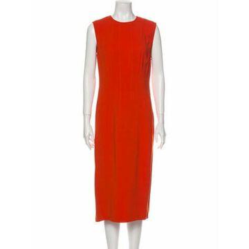 Crew Neck Midi Length Dress Orange