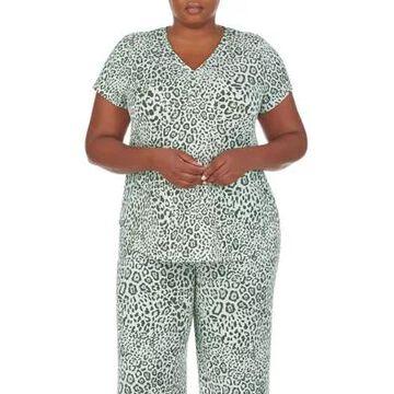 Ellen Tracy Women's Animal Print Short Sleeve Pajama Top - -