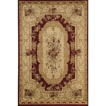 Rugs America Sorrento Aubusson Red Rectangular Indoor Area Rug (Common: 8 x 11; Actual: 7.8333-ft W x 10.8333-ft L)