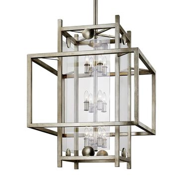 Troy Lighting Crosby Antique Silver Leaf Modern/Contemporary Clear Glass Geometric Large (Larger Than 22-in) Pendant Light | F7135