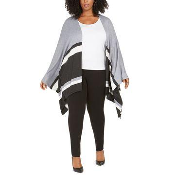 Plus Size Contrast-Striped Poncho