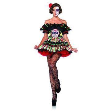 Leg Avenue Women's Day of the Dead Sugar Skull Costume, X-Large, Multicolored