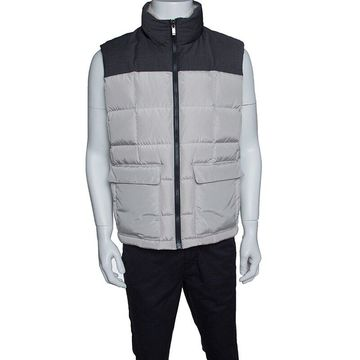 Z Zegna Beige and Grey Shearling Collar Detail Sleeveless Ultradown Puffer Jacket L
