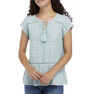 Cupio Women's Paisley Embroidered Peplum Top -