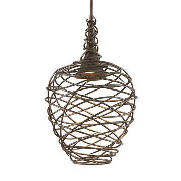 Troy Lighting Sanctuary Cottage Bronze Transitional Geometric LED Large (Larger Than 22-in) Pendant Light | F4185