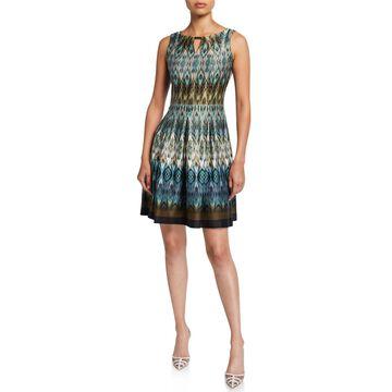 Abstract Sleeveless Fit-&-Flare Scuba Dress w/ Keyhole