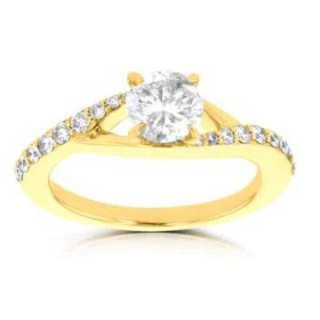 14k Yellow Gold 7/8ct TDW La Vita Vital Engagement Ring