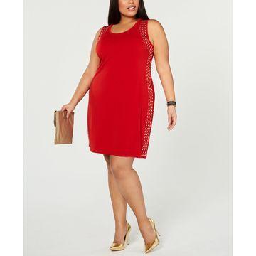 Plus Size Sleeveless Studded Sheath Dress