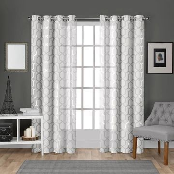 ATI Home Panza Metallic Sheer Grommet Top Curtain Panel Pair