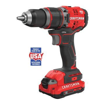 CRAFTSMAN V20 1/2-in 20-volt Max Variable Speed Brushless Cordless Hammer Drill (2-Batteries Included) in Red | CMCD721D2