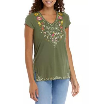 Cupio Women's Short Sleeve Embroidered Top -