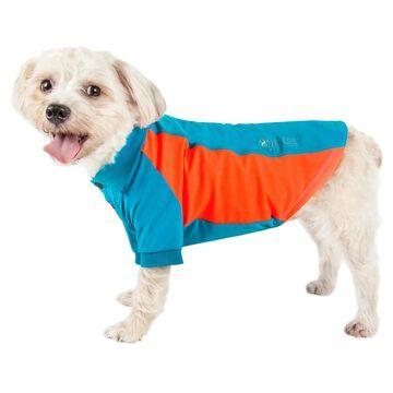 Pet Life Active Barko Pawlo Relax-Stretch Dog Polo Blue T-Shirt, Medium