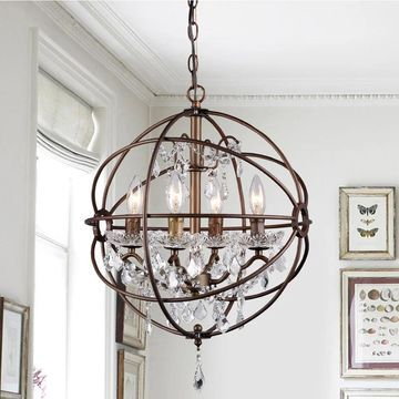 Edwards Antique Bronze and Crystal 24-inch Sphere Chandelier (Brown)