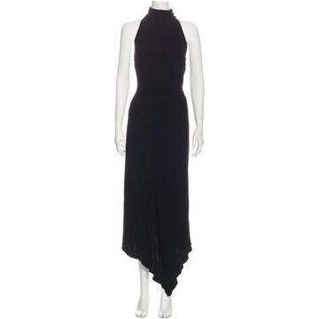Silk Long Dress Black