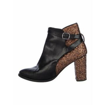 Leather Colorblock Pattern Boots Black